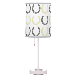 Equestrian Themed Horse Shoes Pattern Table Lamp
