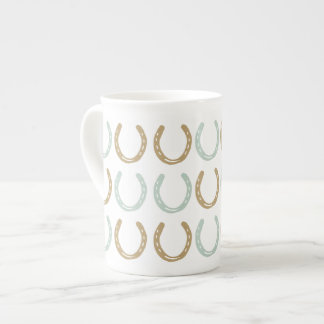 Equestrian Themed Horse Shoes Pattern Tea Cup