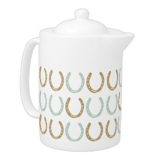 Equestrian Themed Horse Shoes Pattern Teapot