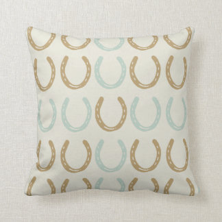 Equestrian Themed Horse Shoes Pattern Throw Pillow