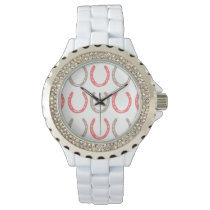Equestrian Themed Horse Shoes Pattern Wrist Watch
