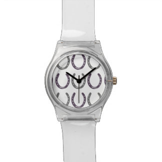 Equestrian Themed Horse Shoes Pattern Wristwatch
