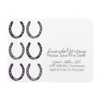 Equestrian Themed Horse Shoes Save The Date Magnet
