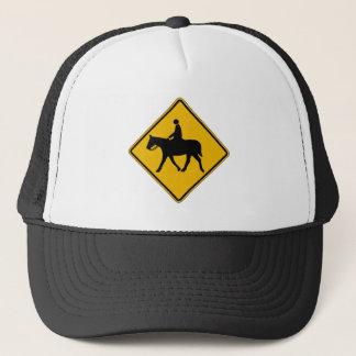 Equestrian Traffic, Traffic Warning Sign, USA Trucker Hat