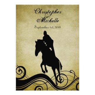 Equestrian Vintage Style Horse Wedding Invitation