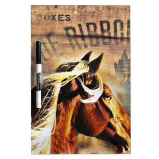 equestrian western country barn wood horse dry erase board