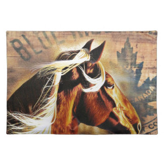 equestrian western country barn wood horse placemat