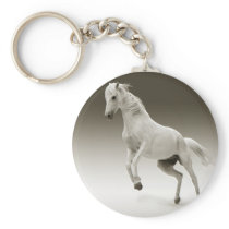 Equestrian White Mare Horse Keychain