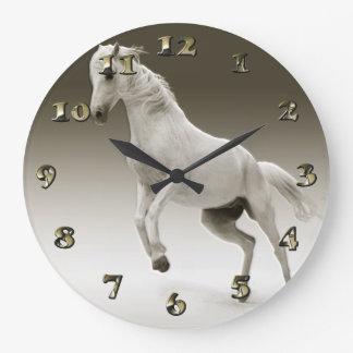 Equestrian White Mare Horse Large Clock