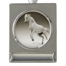 Equestrian White Mare Horse Silver Plated Banner Ornament