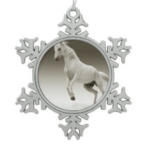 Equestrian White Mare Horse Snowflake Pewter Christmas Ornament