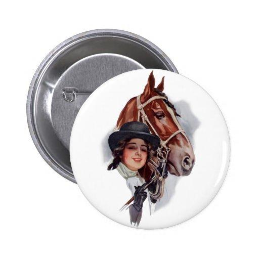 Equestrian Woman Pinback Buttons