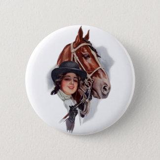 Equestrian Woman Pinback Button