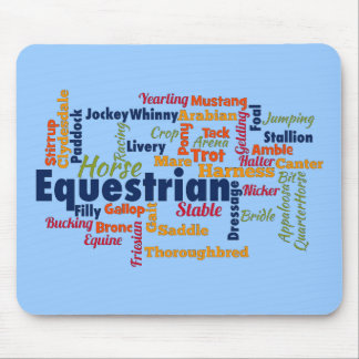 Equestrian Word Cloud Mouse Pads
