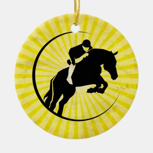 Equestrian; yellow Double-Sided ceramic round christmas ornament