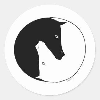 Equestrian Ying Yang Round Sticker