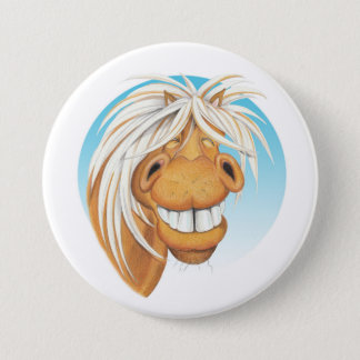Equi-toons 'Cheeky Chappie' horse companion . Pinback Button