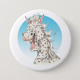 Equi-toons 'Domino' Appaloosa horse companion Button
