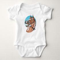 Equi-toons 'Kerching'! brown horse babies vest. Baby Bodysuit
