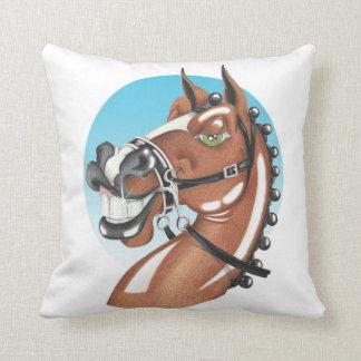 Equi-toons 'Kerching'! brown horse cushion. Throw Pillow