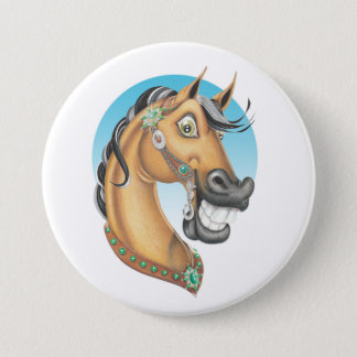 Equi-toons 'Western Showstopper' horse companion Pinback Button