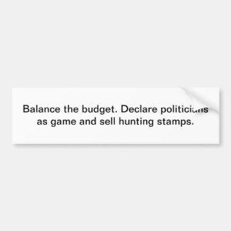 Equilibre el presupuesto etiqueta de parachoque