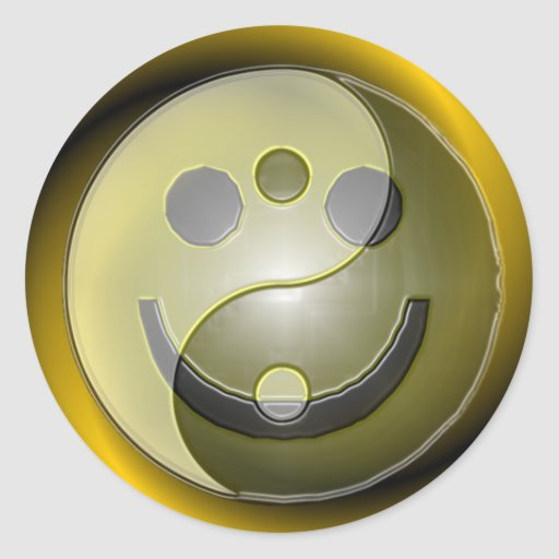 Equilibrio feliz pegatina redonda