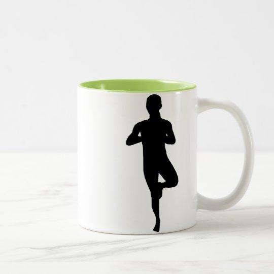 Equilibrio fresco de la yoga taza de café de dos colores