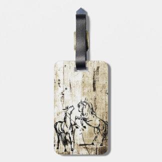 Equine Art Rearing Horses Bag Tag