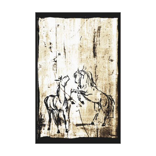 Equine Art Rearing Horses Canvas Print
