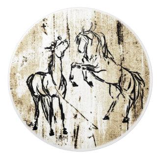 Equine Art Rearing Horses Ceramic Knob