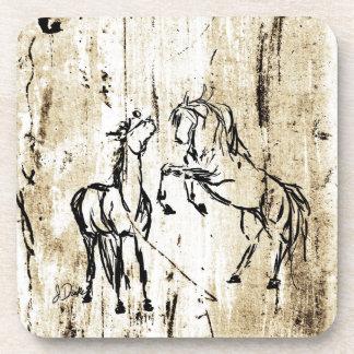 Equine Art Rearing Horses Drink Coaster