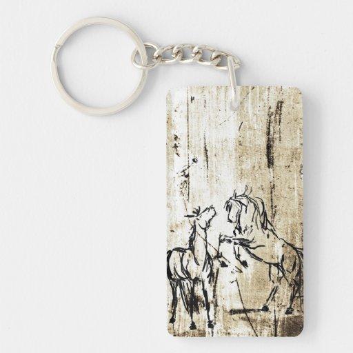 Equine Art Rearing Horses Keychain