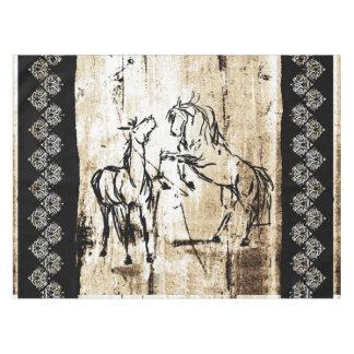 Equine Art Rearing Horses Tablecloth