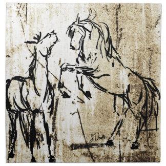 Equine Art Rearing Horses Napkin