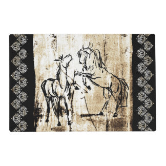 Equine Art Rearing Horses Laminated Placemat