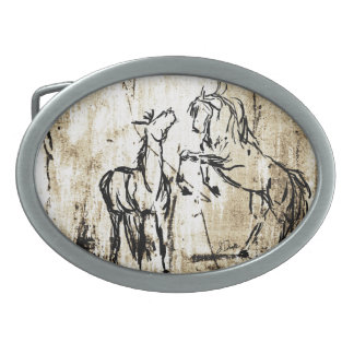 Equine Art Rearing Horses Oval Belt Buckle