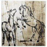 Equine Art Rearing Horses Printed Napkins