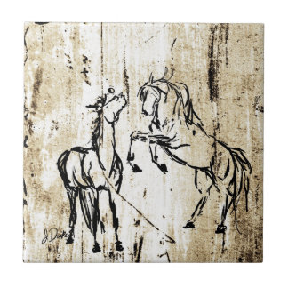 Equine Art Rearing Horses Small Square Tile