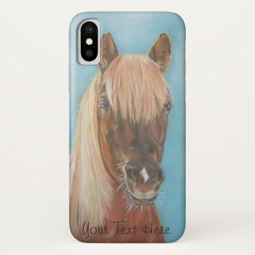 equine chestnut mare with blonde mane brown horse iPhone XS case