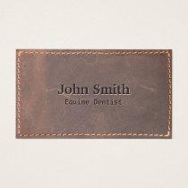 Equine Dentist Vintage Sewed Leather Business Card