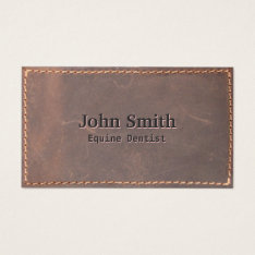 Equine Dentist Vintage Sewed Leather Business Card at Zazzle