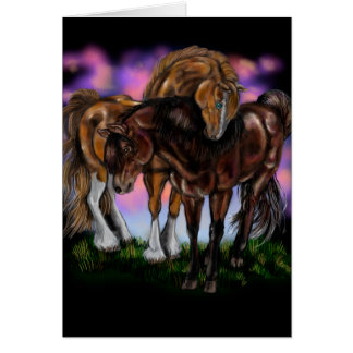 Equine Devotion~ sunset horses greeting cards