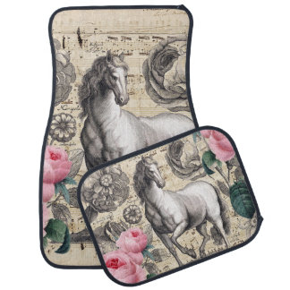 equine vintage music car mat