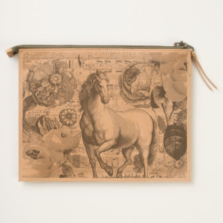 equine vintage music travel pouch
