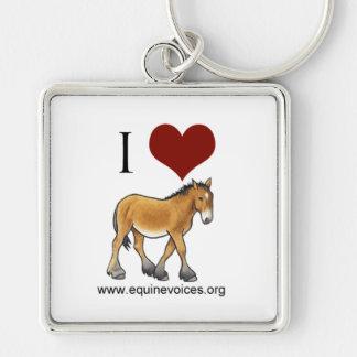 Equine Voices I Love Gulliver White Keychain