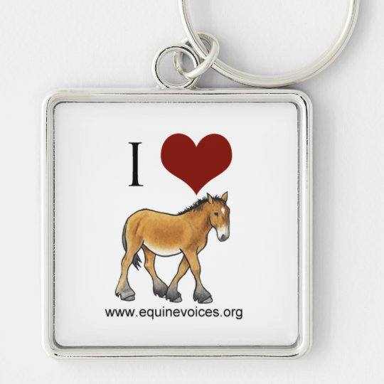 Equine Voices I Love Gulliver White Keychain