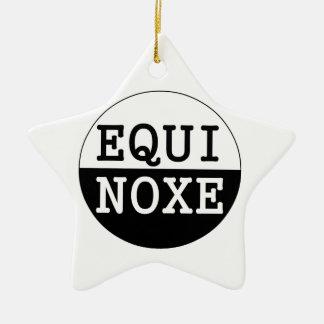 equinoccio blanco y negro adorno navideño de cerámica en forma de estrella