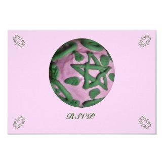 """Equinoccio de primavera rosado y verde de Ostara Invitación 3.5"""" X 5"""""""