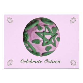 """Equinoccio de primavera rosado y verde de Ostara Invitación 4.5"""" X 6.25"""""""